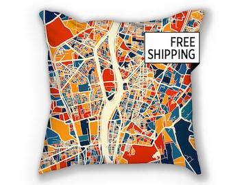 Cairo Map Pillow - Egypt Map Pillow 18x18