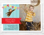 Curious George Birthday Party Invitation Digital Printable 5x7 Photo Card or 4x6 Photo Card