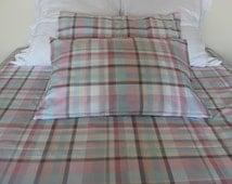 College Dorm bedding - Twin XL Duvet cover pillowcases - Green Tartan Plaid Full Queen KING, Shabby Chic Bedding, Girls Boys dorm room decor
