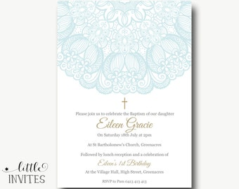 Girls Baptism Invitation/Girl Baptism Invitation/Shabby Chic Baptism Invitation/Girl birthday invite/First Holy Communion Invitation-Eileen