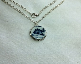 Blue and White Bloom -Broken China Necklace