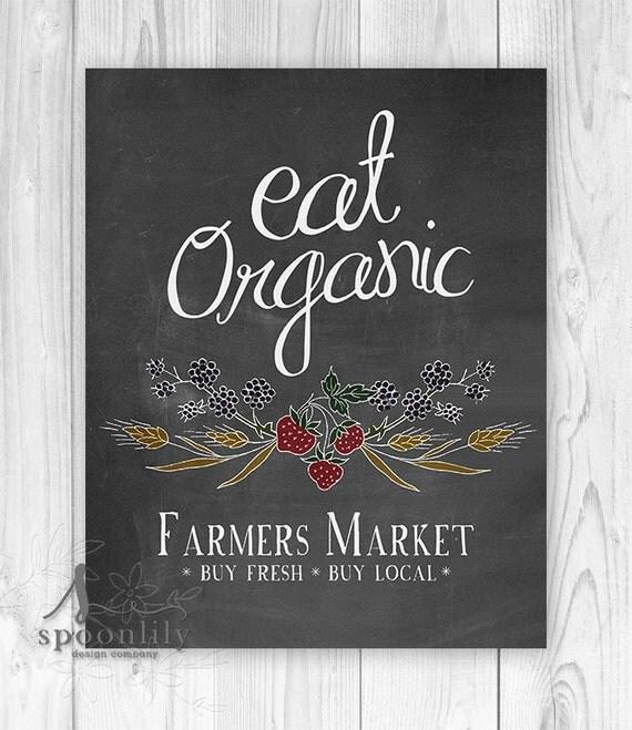 Farmers Market Eat Organic Quote Wall Art Print Art