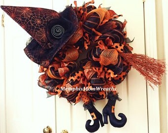 Pre-Order Custom Deco Mesh Witch Wreath - Witch Legs Wreath - Halloween Wreath - Witch Wreath