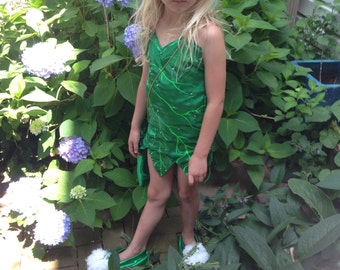 Tinkerbell Costume Mother Earth Fairy Custom made to size for Little Girls 2t to 12 With Fairy Dust Pouch