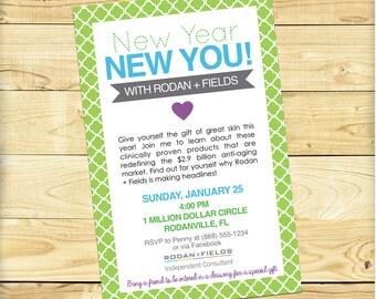 Rodan and Fields New Year New You Event Invite, Quatrefoil Design - DIGITAL FILE