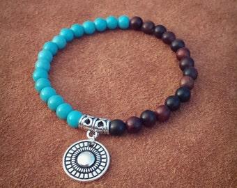 Radiance // Turquoise Bracelet // Boho Bracelet // Wooden Bracelet // Beaded Bracelet // Stacking Bracelet // Stretchy Bracelet // Cute