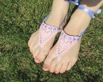 Hearts barefoot sandals knitting pattern