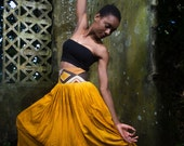 Mali High Waisted Hand Dyed Hand Painted African, Tribal, Yoga, Festival Maxi Skirt - Marigold - Made to Order