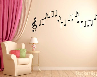 Musical Note Vinyl Wall Decals Boys And Girls Music Graphics Bedroom Home  Studio Decor