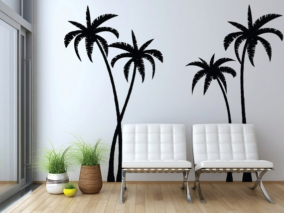 Tropical Palm Trees Silhouette Wall Decals Graphic By