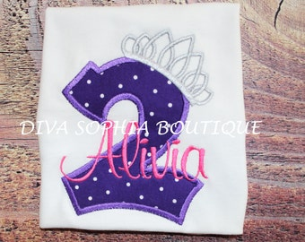Princess Tiara Personalized Pink and Purple Bodysuit or T-shirt  with Number