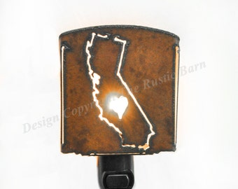 CALIFORNIA State shape nightlight night light made of Rustic Rusty Rusted Recycled Metal