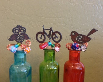 OWL BICYCLE or BIRD Wine Bottle Cork Stopper Topper Rusted Metal Decorative