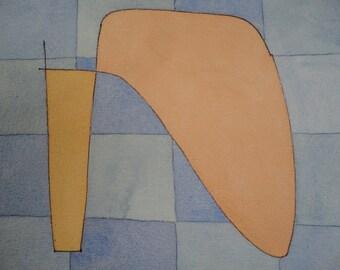 Abstract Watercolor Painting Original Art Vintage Avant Garde Framed Artwork Modernist Signed Unique Decor Geometric Shapes on Blue Grid