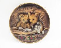 Vintage Teddy Bear Plate/ Collectible Sue Willis Limited Edition Plate/ Vintage Wall Decor/ Vintage Franklin Mint Plate/ Vintage Shelf Decor