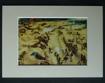 1940s Vintage Military Print of the Battle of Dunkirk by Richard Eurich, Old World War Two Decor, Available Framed, WW2 Art, France Wall Art
