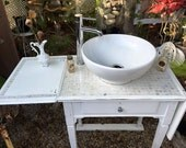 Bathroom Vanity, Upcycled, Shabby Chic,  Farmhouse, Cottage,  Vintage, Antique, White,Mother of Pearl, vessel, faucet