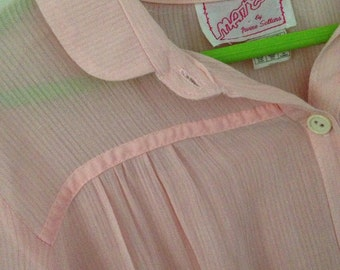 SALE 50s Baby Pink Sheer Collared Half Buttoned Dress