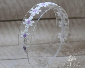 White and Lavender Daisy Headband - Hippie Headband - Daisy Headband - Boho Headband - Lavender Headband - Photo Prop