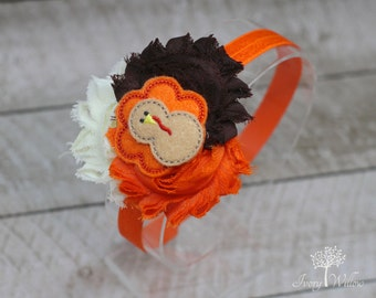 Thanksgiving Headband - Turkey Headband - Fall Headband - Orange Ivory and Brown Felt Turkey Headband - Baby Headband