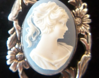 Art Nouveau Blue Cameo Brooch Pin .925 Sterling Silver