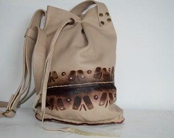 Leather eighties Ibiza boho, hippie bohemian leather handbag.
