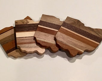 Ohio coasters, ohio proud, hardwood coasters, gourmet gift, handmade, one of a kind, ohio shaped coasters