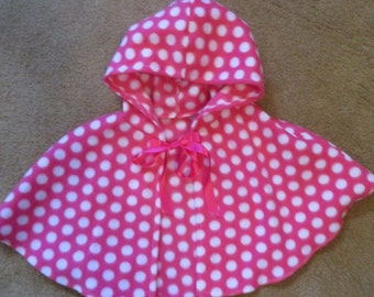 Baby Poncho, Baby Hooded Cape, Toddler Cape, Toddler Poncho, Fleece Poncho, Fleece Hooded Cape, Pink Polka Dot Fleece