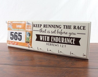 Running Medal Holder and Race Bib Hanger   Hebrews12:1 - Keep Running the Race