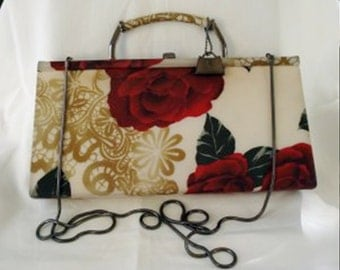 American Beauty roses Jeanne Lottie fabric evening bag shoulder, clutch or handle very good vintage