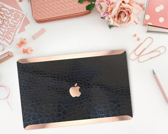 Black Mica Alligator Leather and Rose Gold Edge Detailing Hybrid Hard Case for Apple Mac Air & Mac Pro Retina - Platinum Edition
