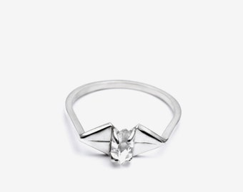 Herkimer diamond bow silver ring