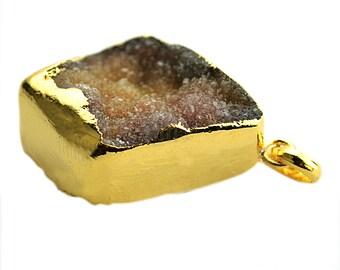Rough Geode Druzy Pendant 22k Gold Electroplated Gemstone Druzy Necklace Pendant (NP-50876)