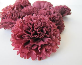 Aubergine Carnation Sola Flowers - SET OF 10 , Aubergine Sola Flowers, Wood Sola Flowers, Carnation Sola, Balsa Wood Flowers, Craft Flowers
