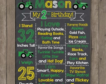 Green Tractor Birthday Chalkboard - Photography Prop - Printable Poster - Digital File