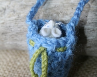 White MOUSE in a Blue POUCH  Eco Friendly