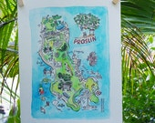 Illustrated Hand Painted Watercolor Map of Praslin Island, Seychelles