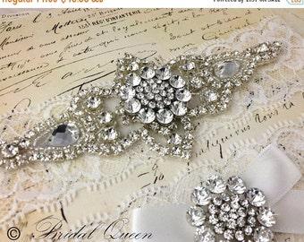 20% OFF Wedding garter set,  Bridal Garter set, Lace Garter, Crystal Garter, Garter, Rhinestone Garter