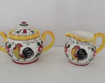 PY Ucagco Roosters and Roses Cream and Sugar