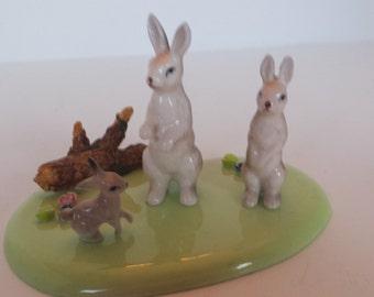 Miniature China Bunny Family and Platform