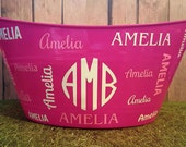Personalized Monogrammed Girls Basket, Toy Storage , Oval Tub, Easter Basket, Birthday Party Snack Tub, Baby Shower or Bridal Shower Gift