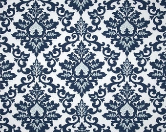Cecilia Navy Fabric - One Yard - Premier Prints Fabric - Navy Blue and White Home Dec Fabric