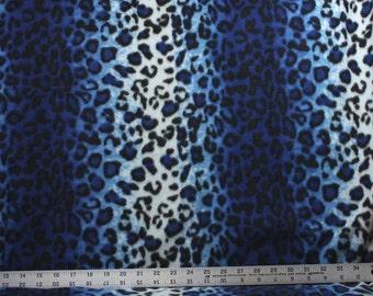 Ombre Cheetah Blue Anti Pill Fleece Fabric - 25 Inches - Animal Fleece