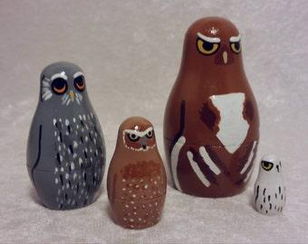 Owl nesting doll set