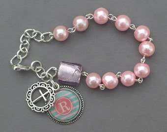 Alphabet Letter R - 8mm Pink Pearl Glass One Decade Rosary Bracelet