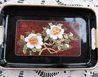 Vintage Japanese  Lacquer Ware Tray with White Lotus Flowers