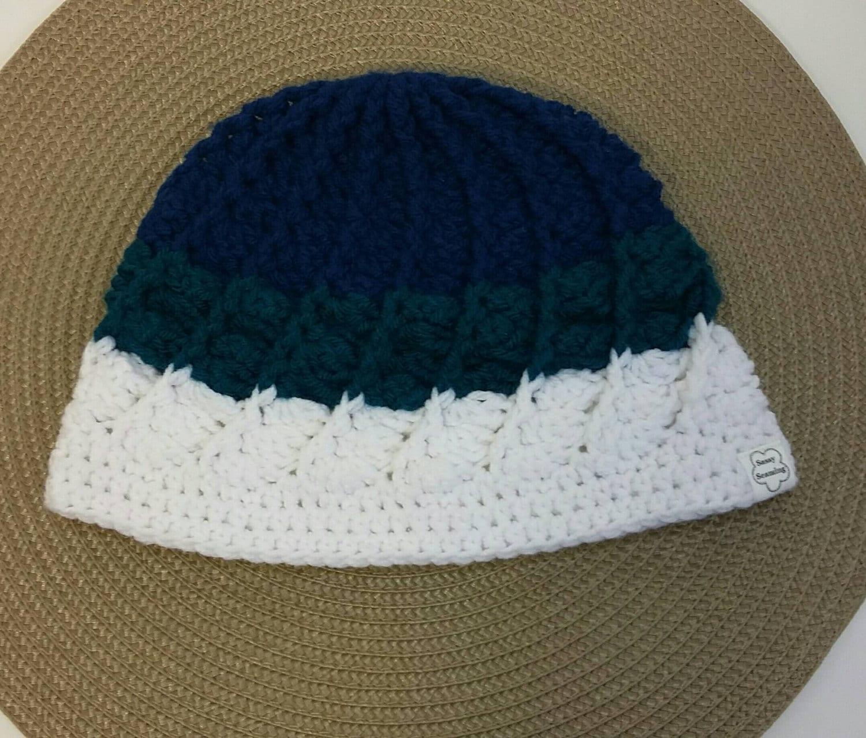 Crochet Hat Pattern Spiral Rib : Adult womens spiral ribbed crochet hat cobalt blue by ...