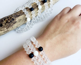 Be Balanced Crystal Beaded Bracelet • Onyx • White Onyx • Recycled Beach Glass •