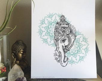 Elephant Mandala Print // Mandala Art Prints Sacred Geometry Mandala Prints Colorful Animal