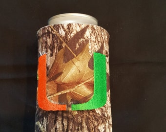 Miami Hurricanes Custom Camo Can Insulated Beverage Cooler